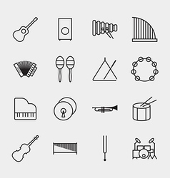 Music instrument icons outline vector