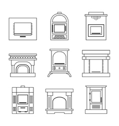 Flat icons fireplace stoves isolated on white vector