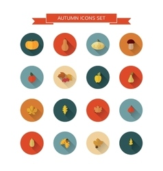 Autumn icons set vector image vector image