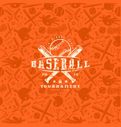 baseball seamless pattern and emblem vector image vector image