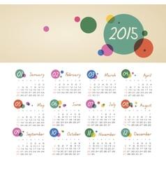 Calendar 2015 year with circles vector image