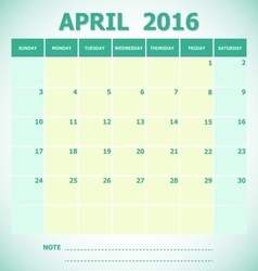 Calendar April 2016 week starts Sunday vector image vector image