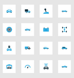 Car colorful icons set collection of car vector