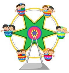 Cartoon little child in the ferris wheel vector