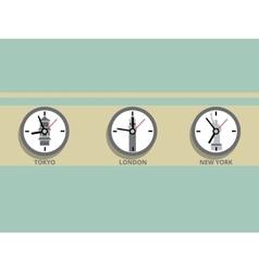 Clock in different time zones cartoon vector image