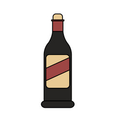 Color image cartoon glass bottle of wine vector