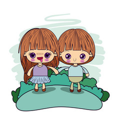 Color picture couple kawaii in love kids taken vector