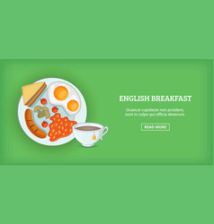 english breakfast banner horizontal cartoon style vector image vector image
