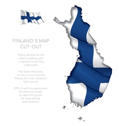 Finland Map Cut Out with Waving Flag vector image vector image