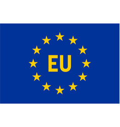 Flag of european union eu twelve gold stars on vector