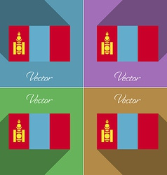 Flags Mongolia Set of colors flat design and long vector image vector image