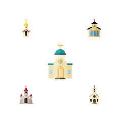 Flat icon christian set of building religious vector