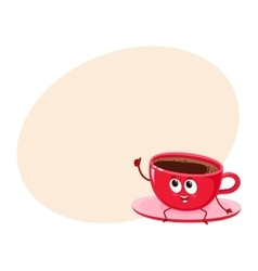 Funny black coffee cup character giving thumb up vector