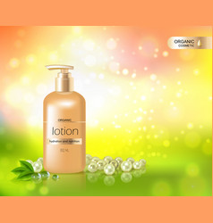 gold bottle of lotion for skin hydration vector image vector image