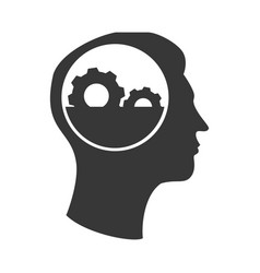 Human profile with gear machine isolated icon vector