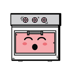 Kawaii cute funny oven technology vector