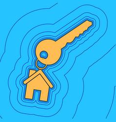 Key with keychain as an house sign sand vector