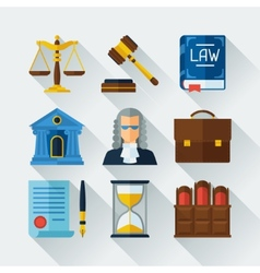 Law icons set in flat design style vector image vector image