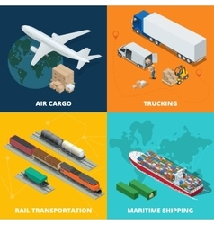 Logistic realistic icons set of air cargo vector