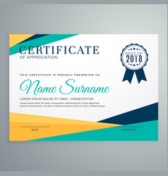 Modern geometric certificate of appreciation vector