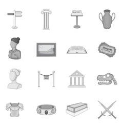 Museum icons set gray monochrome style vector