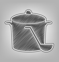Pan with steam sign pencil sketch vector