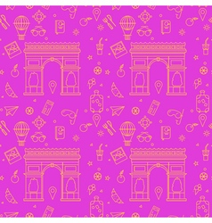 Paris seamless pattern with arc de triompe vector