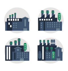 Plant set blue building chimney factory icon vector