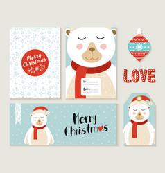 Polar bear merry christmas greeting card set vector