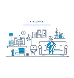 remote work as a freelancer workplace tools vector image