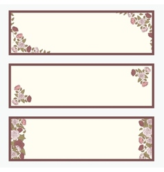 Retro banners with abstract flowers set vector image