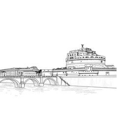 Rome cityscape with castel santangelo italian vector