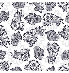 Stylish flowers pattern coloring page decoration vector