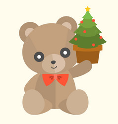 teddy bear with present set 2 vector image vector image