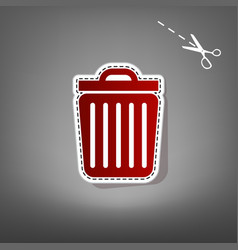 trash sign red icon with for vector image