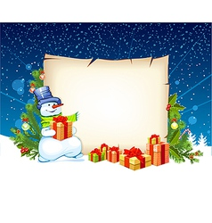 Snowman with empty blank on horizontal background vector
