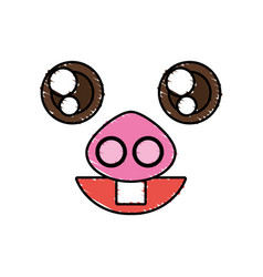 Drawing piggy kawaii face animal vector