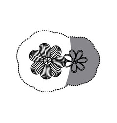 sticker silhouette set flower floral icon vector image