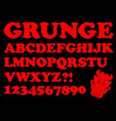 Alphabet in red grunge style devil designed vector