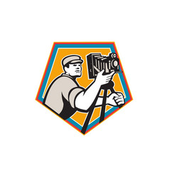 Cameraman vintage movie film camera crest retro vector