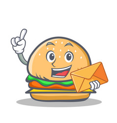 Burger character fast food with envelope vector