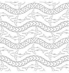 seamless pattern with sharks polynesian symbols vector image