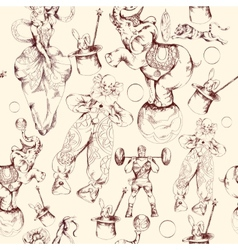 Circus doodle sketch seamless pattern vector image
