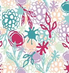 Seamless pattern with flowers leaves spot sketch vector