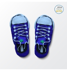 Pair of blue simple sneakers example gumshoes vector