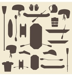 Rafting sport items silhouette icon set oar and vector