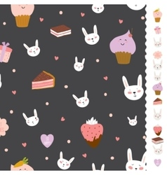 Cute pattern with sweets cupcakes bunnys hearts vector