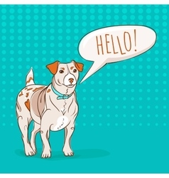 Cute jack russel terrier dog saying hello to you vector