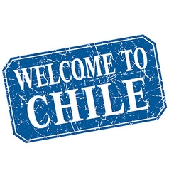 Welcome to chile blue square grunge stamp vector