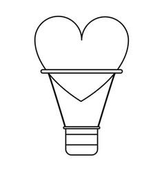 Airballon heart love romantic poster line vector
